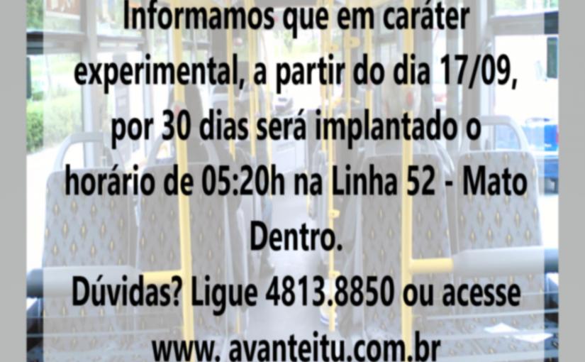 Implantação de horário Linha 52 Terminal/Bairro Mato Dentro