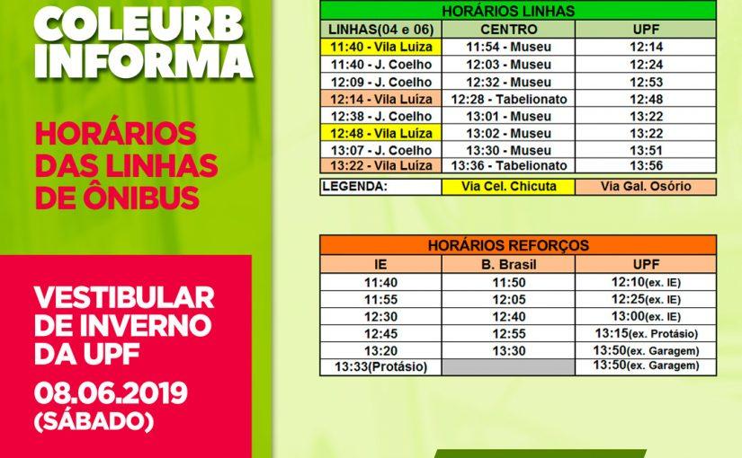 Horários dos ônibus da COLEURB para o Vestibular UPF