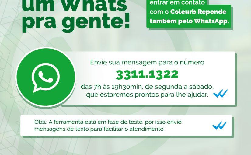 Coleurb Responde agora atende pelo WhatsApp