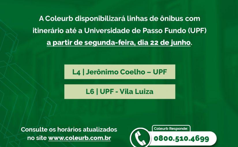 Linhas que atendem a UPF a partir de segunda (22)