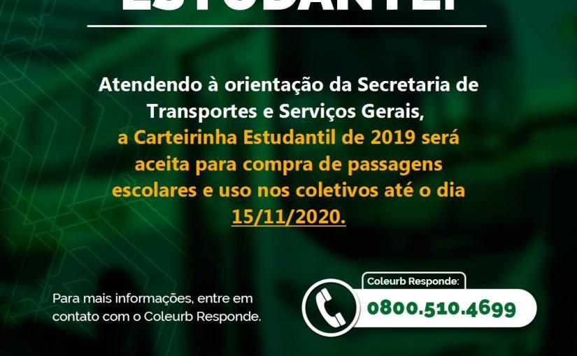 Carteirinha Estudantil 2019 tem uso prorrogado até 15/11/20