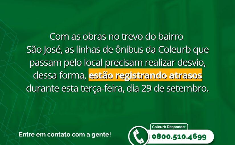 Obras no trevo do bairro São José causam atrasos nas linhas de ônibus da Coleurb