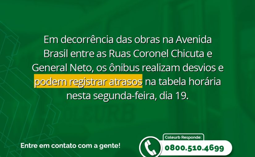 Atrasos nos horários dos ônibus podem ocorrer devido às obras na Av. Brasil