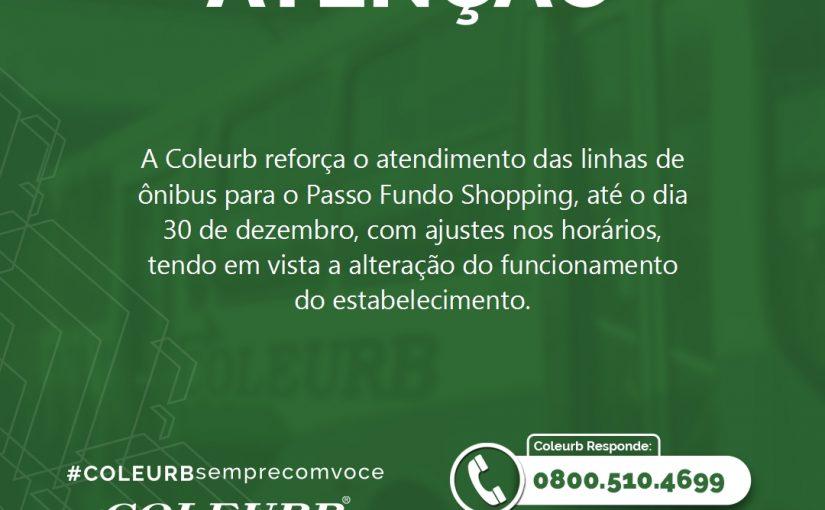 Coleurb reforça o atendimento para o Passo Fundo Shopping até o dia 30/12