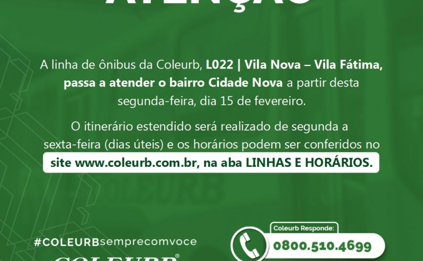 L022|Vila Nova – Vila Fátima, passa a atender o bairro Cidade Nova