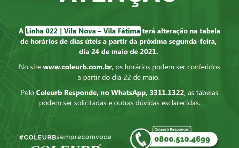 L022| Vila Nova – Vila Fátima terá alteração nos horários da linha a partir do dia 24/05