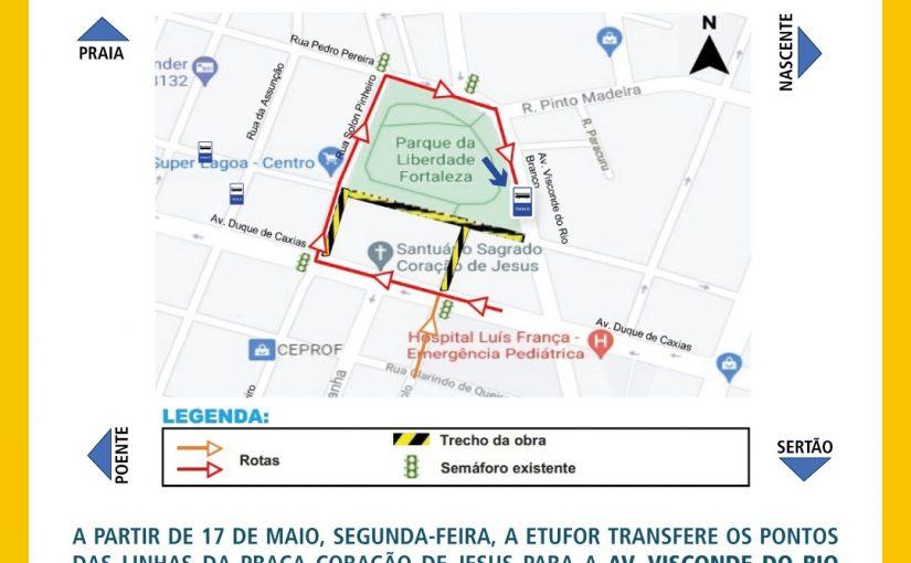 Etufor transfere linhas de ônibus da Praça Coração de Jesus