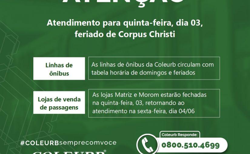 Coleurb opera com tabela de domingo no feriado de Corpus Christi