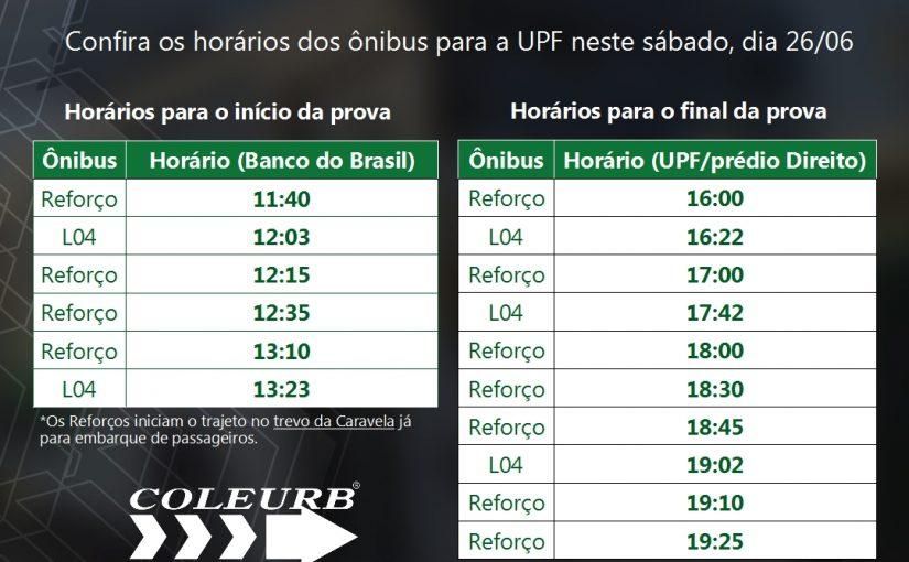 Ônibus Reforço para o Vestibular de Inverno da UPF neste sábado, dia 26 de junho