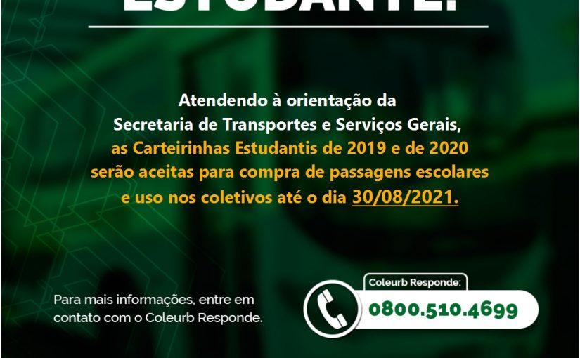 Carteirinhas Estudantis tem validade prorrogada até 30/08/2021