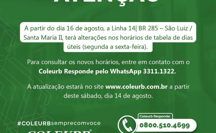 Novos horários na L 14| BR 285 – São Luiz / Santa Maria II a partir de 16/08
