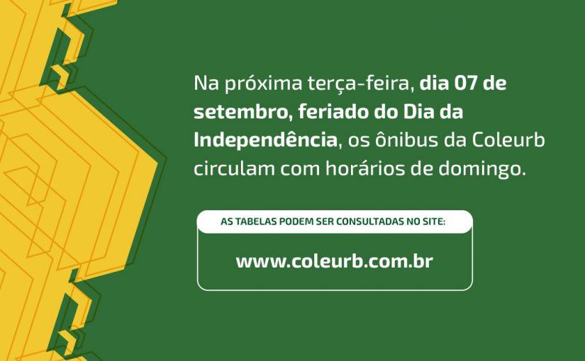 Coleurb opera com tabela de domingo no feriado de Independência do Brasil